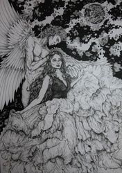 Guardian Angel, Decorative Arts,Drawings / Sketch,Folk Art,Illustration, Commercial Design,Expressionism,Fine Art,Realism,Romanticism,Surrealism,Symbolism, Composition,Conceptual,Environmental art,Erotic,Fantasy,Religious, Ink, By Misia Slemp