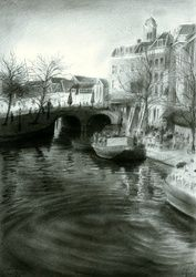 Leiden - 27-12-16 (sold), Drawings / Sketch, Fine Art,Impressionism,Realism, Architecture,Cityscape,Composition,Figurative,Landscape, Pencil, By Corne Akkers
