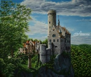 Lichtenstein castle. Nikolay<br>Velikiy 2017, Paintings, Realism, Architecture,Fantasy,Landscape, Canvas,Oil, By Nikolay Velikiy