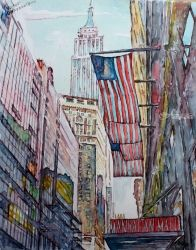 Manhattan, Paintings, Surrealism, Architecture,Landscape, Watercolor, By Victor Ovsyannikov