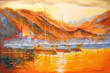 Marina Bay, Paintings, Impressionism, Landscape,Nature, Canvas,Oil,Painting, By Olha   Darchuk