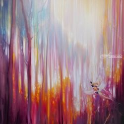 Nebulous Forest - a semi<br>abstract landscape, Paintings, Abstract,Expressionism,Fine Art, Nature, Oil, By Gill Bustamante