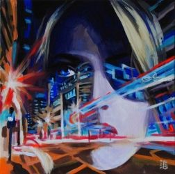 Neon motion, Paintings, Fine Art,Pop Art,Surrealism, Cityscape,Fantasy,People,Portrait, Acrylic,Canvas, By Kateryna Bortsova