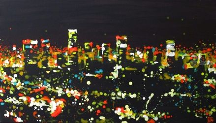 Night at L.A., Paintings, Expressionism,Fine Art,Impressionism, Architecture,Landscape, Acrylic,Canvas, By Kateryna Bortsova