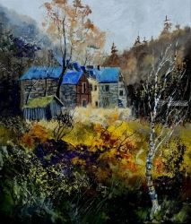 Old mansion, Paintings, Expressionism, Landscape, Canvas, By Pol Ledent