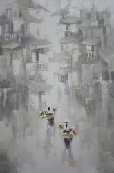 Old town II, Paintings, Fine Art,Romanticism, Architecture,Decorative,People, Canvas,Oil, By Ninh NguyenVu