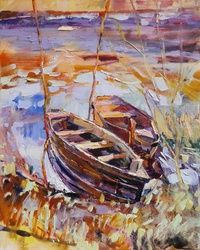 PLEIN AIR 28-03-2017 (BOATS,<br>EVENING), Paintings, Expressionism,Impressionism, Landscape, Canvas,Oil,Painting, By Dima Braga