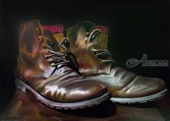 Pair of boots, Paintings, Realism, 3-D,Still Life, Oil, By Julian Arsenie