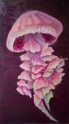Pink jellyfish, Decorative Arts,Paintings, Fine Art,Symbolism, Animals, Canvas, By olga zelinska