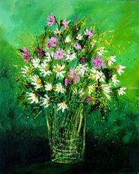Pink wild flowers, Paintings, Expressionism, Decorative, Canvas, By Pol Ledent