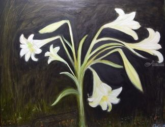 Poetry of Lily, Paintings, Abstract,Fine Art,Impressionism, Floral, Canvas,Oil, By Mike Chaple