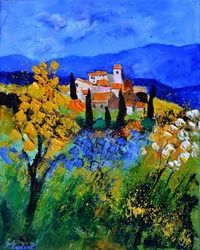 Provence 692, Architecture,Decorative Arts,Drawings / Sketch,Paintings, Expressionism, Decorative, Canvas, By Pol Ledent