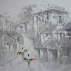Rain on the old town, Paintings, Fine Art,Romanticism, Architecture,Decorative,Landscape,People, Canvas,Oil, By Ninh NguyenVu