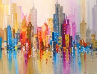 Rainbow city, Paintings, Abstract,Impressionism, Architecture,Cityscape,Fantasy, Canvas,Oil,Painting, By Olha   Darchuk