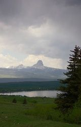Rainstorm Over Chief Mountain,<br>Verticle, Photography, Photorealism, Landscape, Photography: Metal Print,Photography: Photographic Print,Photography: Premium Print,Photography: Stretched Canvas Print, By Tracey Vivar