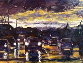Reflecting On The Commute, , Impressionism, Landscape, Oil, By Samantha Black