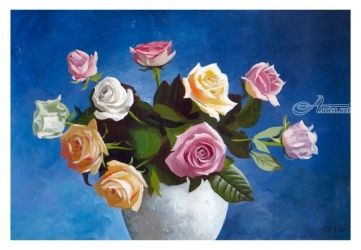 Roses in blue, Paintings, Fine Art,Realism, Botanical,Figurative,Floral,Still Life, Acrylic,Painting, By Dario Lo Iacono