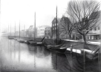 Rotterdam - Delftshaven -<br>31-03-17 (sold), Drawings / Sketch, Abstract,Cubism,Fine Art,Impressionism,Realism, Architecture,Cityscape,Composition,Historical,Landscape, Pencil, By Corne Akkers