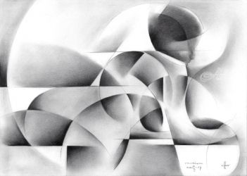 Roundism - 02-05-17, Drawings / Sketch, Abstract,Cubism, Anatomy,Composition,Erotic,Nudes,People, Pencil, By Corne Akkers
