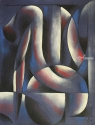 Roundism - 29-05-17, Pastel, Abstract,Cubism, Anatomy,Composition,Erotic,Nudes, Pastel, By Corne Akkers