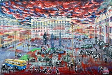 Running time. Moscow,<br>Mayakovka, Paintings, Surrealism, Architecture,Documentary,Historical,Landscape, Acrylic,Canvas, By Victor Ovsyannikov