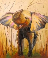 Smiling elephant, Paintings, Impressionism, Animals, Canvas,Oil,Painting, By Olha   Darchuk