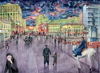 Stalin's Death, Paintings, Surrealism, Architecture,Historical,People, Acrylic,Canvas, By Victor Ovsyannikov