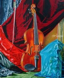 Still nature with violin and<br>bow, Paintings, Fine Art,Photorealism,Realism,Romanticism, Music,Still Life, Canvas,Oil,Painting, By Julian Arsenie