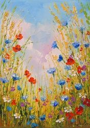 Summer flowers, Paintings, Fine Art,Impressionism, Floral,Nature, Canvas,Oil,Painting, By Olha   Darchuk