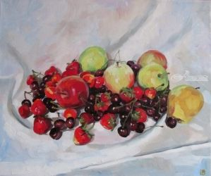 Summer fruits, Paintings, Fine Art,Photorealism,Realism, Botanical,Figurative,Still Life, Canvas,Oil, By Kateryna Bortsova