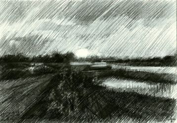 Sunset at the river 'Waal'<br>17-04-14, Drawings / Sketch, Fine Art,Impressionism,Realism,Surrealism, Composition,Figurative,Landscape,Nature, Pencil, By Corne Akkers