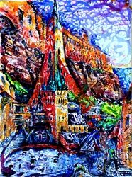 Tales of old Tallinn, Paintings, Expressionism, Architecture,Fantasy,Historical,Landscape, Acrylic,Canvas, By Victor Ovsyannikov