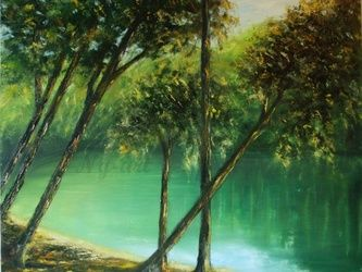 Tarn, Paintings, Fine Art, Landscape,Nature, Oil,Wood, By Angela Suto
