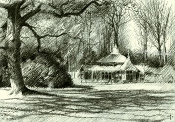 Tea Pavilion 'De Horsten' -<br>16-04-14, Drawings / Sketch, Fine Art,Impressionism,Realism, Architecture,Composition,Figurative,Landscape,Nature, Pencil, By Corne Akkers