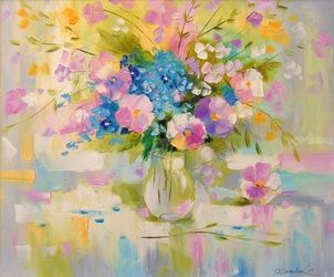 Tenderness, Paintings, Impressionism, Botanical,Floral, Canvas,Oil,Painting, By Olha   Darchuk