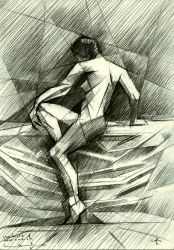 The birth of new cubism 1 -<br>01-05-14, Drawings / Sketch, Abstract,Cubism,Realism, Anatomy,Composition,Figurative,Nudes, Pencil, By Corne Akkers