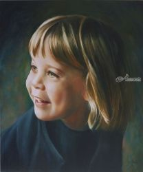 The green eyed girl (2017)<br>(sold), Paintings, Fine Art,Impressionism,Realism, Anatomy,Children,People,Portrait, Oil, By Corne Akkers