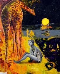 The lady & the giraffe, Paintings, Surrealism, Animals, Canvas,Oil, By Sergey Lutsenko
