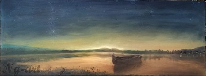 The lonely boat, Paintings, Fine Art,Impressionism, Landscape,Nature, Oil,Wood, By Angela Suto