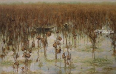 The lotus fades, Paintings, Fine Art,Realism,Romanticism, Decorative,Landscape,Nature, Canvas,Oil, By Ninh NguyenVu