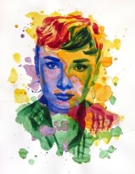 The power of color - Audrey<br>Hepburn, Paintings, Modernism,Realism, Figurative,Portrait, Watercolor, By Dario Lo Iacono