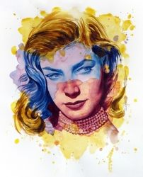 The power of color - Lauren<br>Bacall, Paintings, Modernism,Realism, Figurative,Portrait, Painting,Watercolor, By Dario Lo Iacono