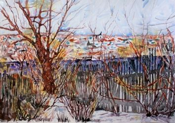 The town Torzhok (2), Paintings, Impressionism, Landscape, Watercolor, By Victor Ovsyannikov
