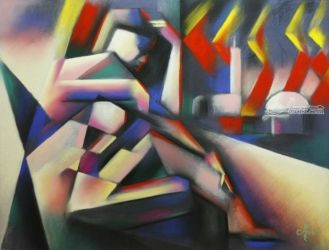 The widow of Aleppo - 18-05-17, Pastel, Abstract,Cubism, Anatomy,Cityscape,Composition,Nudes, Pastel, By Corne Akkers