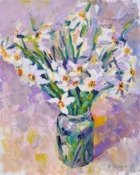 WHITE DAFFODILS, Paintings, Expressionism,Impressionism, Floral,Nature,Still Life, Canvas,Oil,Painting, By Dima Braga