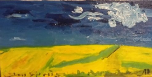 Wheatfield under Clouded Sky, Paintings, Impressionism, Landscape, Oil, By MD Meiser