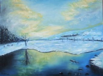 Winter silence, Paintings, Fine Art,Impressionism, Landscape,Nature, Oil,Wood, By Angela Suto