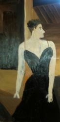 Woman in a Black Dress, Paintings, Fine Art, Portrait, Oil, By MD Meiser