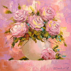 A bouquet of delicate roses, Paintings, Impressionism, Botanical,Floral,Nature,Still Life, Canvas,Oil,Painting, By Olha   Darchuk