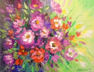 A bouquet of flowers, Paintings, Fine Art,Impressionism, Floral,Nature, Canvas,Oil,Painting, By Olha   Darchuk